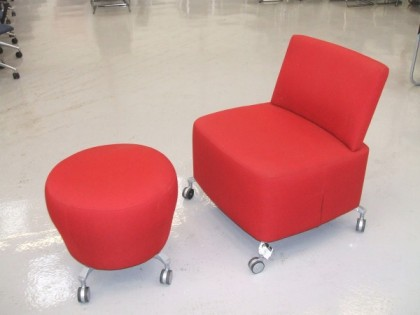 Red Cloth Tub Chair