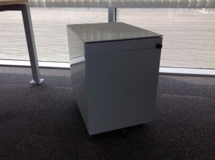3 Drawer Metal Silver Pedestals