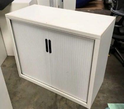 White Metal Tambour Cupboards