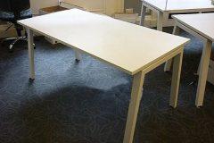 Used White Bench Desks O leg Frame