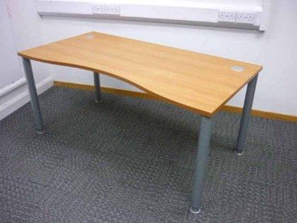 Cherry Double Wave Height Adjustable Desks
