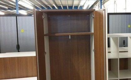 Walnut And White Tall Storage Cupboard