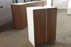 Walnut And White Storage Cupboards