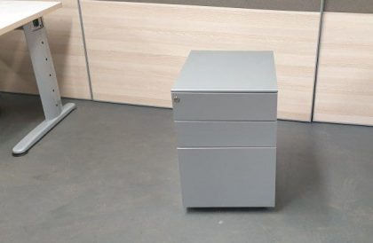 Grey 3 Drawer Metal Pedestals